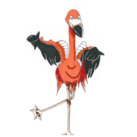 Dominic the Flamingo - Original Drawing